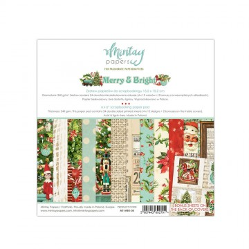 Set de 24 papiers scrapbooking 15 x 15cm collection Merry and Bright MINTAY BY KAROLA