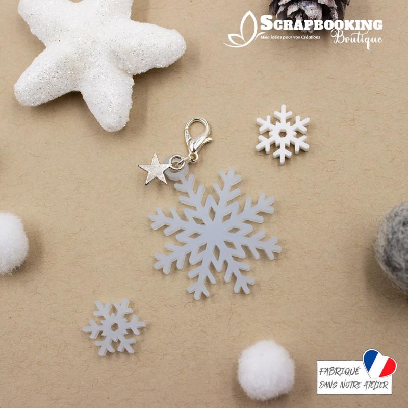 Breloque charm flocon de neige bleu givré avec fermoir étoile argenté brillant SCRAPMOUSET