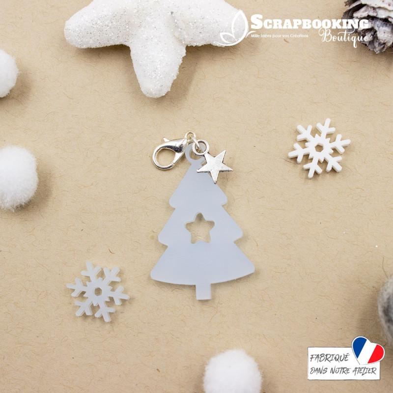 Breloque charm sapin de Noël avec étoile de couleur bleu givré avec fermoir étoile argenté brillant SCRAPMOUSET