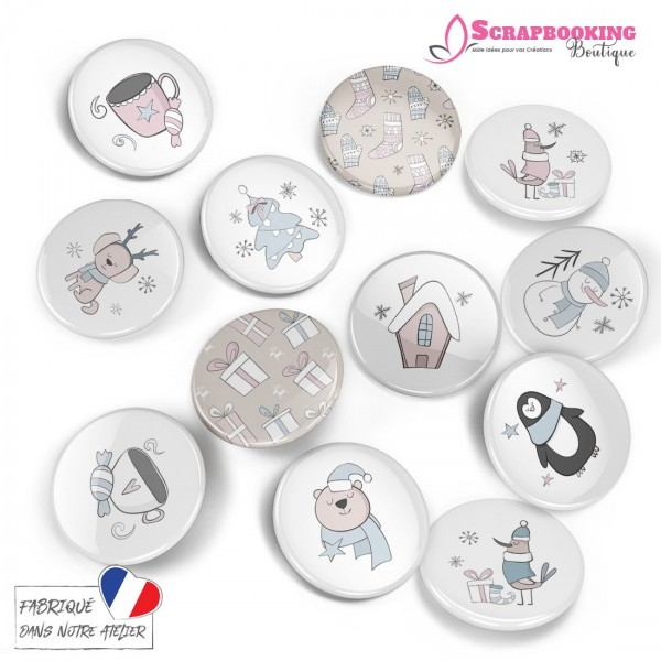 Pack de 12 badges 25mm à dos plat collection Hello Winter SCRAPMOUSET