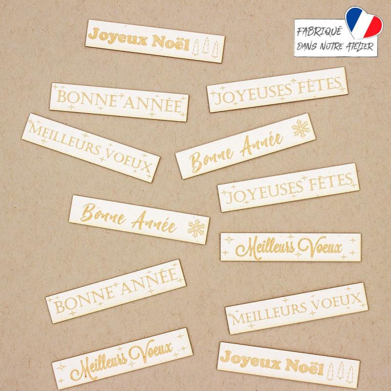 Lot de 12 étiquettes gravées thème Noël et Nouvel An carton bois SCRAPMOUSET
