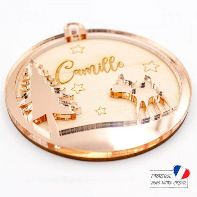 Boule de Noël personnalisée avec faon en bois et acrylique miroir rose gold SCRAPMOUSET