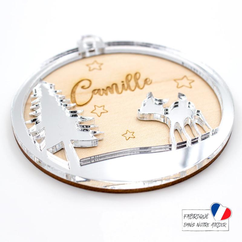 Boule de Noël personnalisée avec faon en bois et acrylique miroir argent SCRAPMOUSET