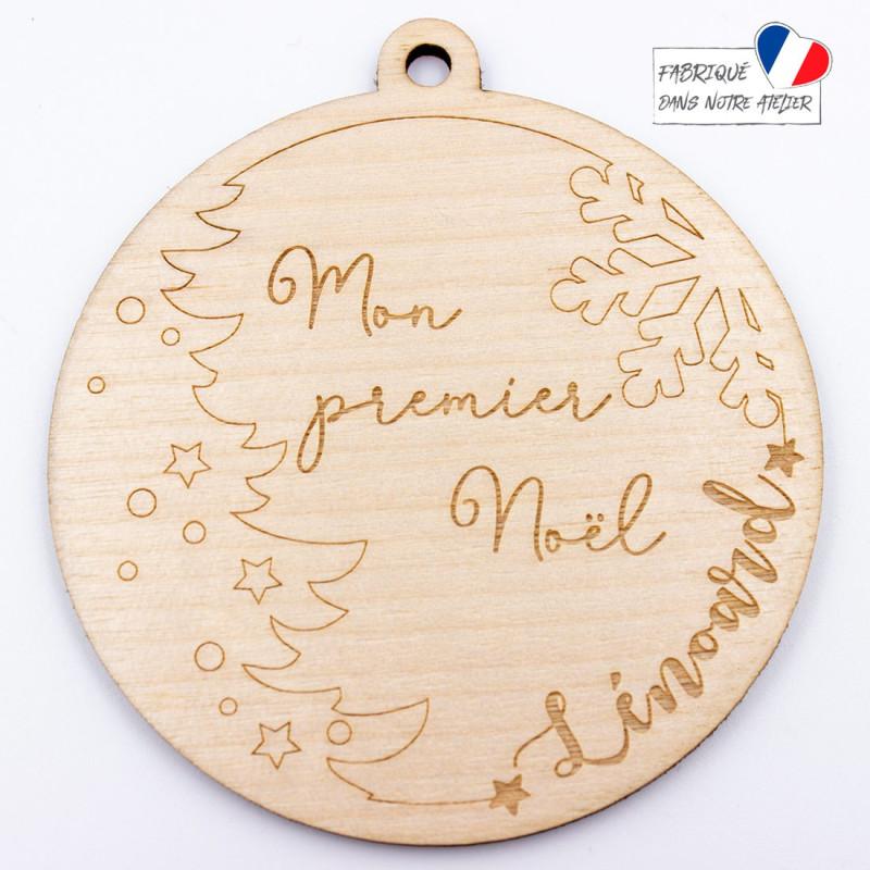 Boule de Noël personnaliséecmon premier Noël en bois SCRAPMOUSET