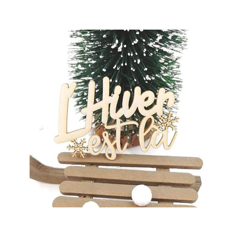 Mot l'Hiver est là en carton bois SCRAPMOUSET pour scrapbooking et loisirs créatifs