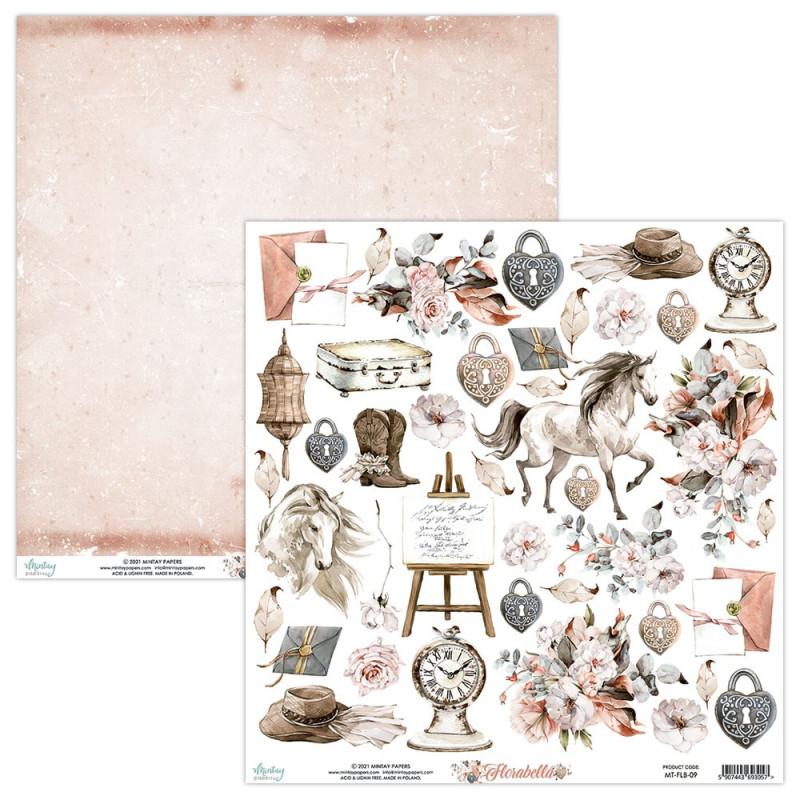 Feuille papier scrapbooking motifs à découper collection Florabella MINTAY BY KAROLA