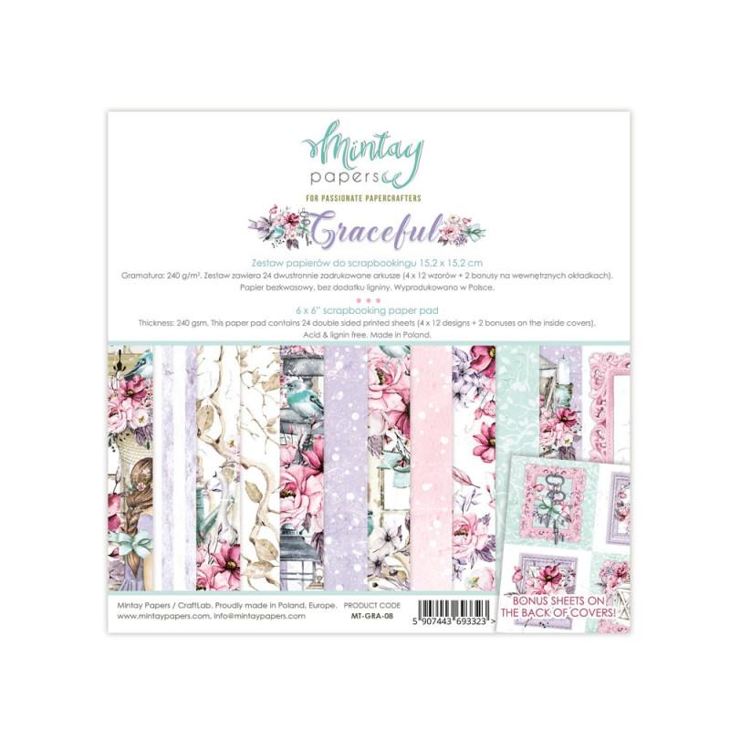 Set de 24 papiers scrapbooking 15 x 15 collection Graceful MINTAY BY KAROLA