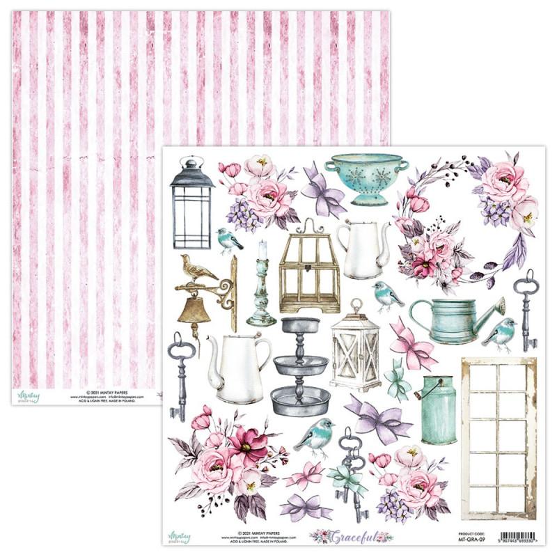 Feuille papier scrapbooking motifs à découper collection Graceful MINTAY BY KAROLA