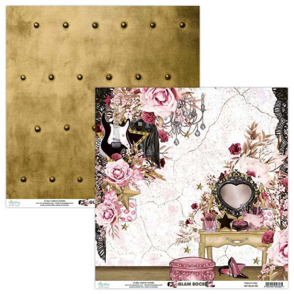 Set de 12 papiers scrapbooking 30 x 30 collection Glam Rock MINTAY BY KAROLA