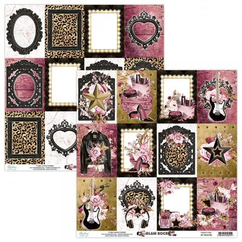 Set de 24 papiers scrapbooking 15 x 15 collection Glam Rock MINTAY BY KAROLA