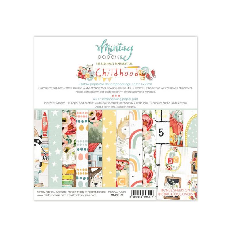 Set de 24 papiers scrapbooking 15 x 15 collection Childhood MINTAY BY KAROLA