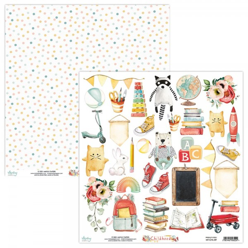 Feuille papier scrapbooking motifs à découper collection Childhood MINTAY BY KAROLA