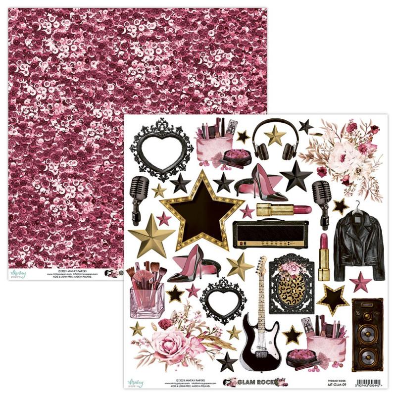 Feuille papier scrapbooking motifs à découper collection Glam Rock MINTAY BY KAROLA