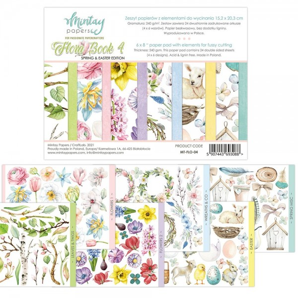 Bloc 24 pages Flora Book 4 Spring & Easter Edition MINTAY BY KAROLA