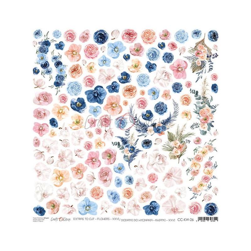 Feuille papier scrapbooking motifs floraux à découper CRAFT O'CLOCK