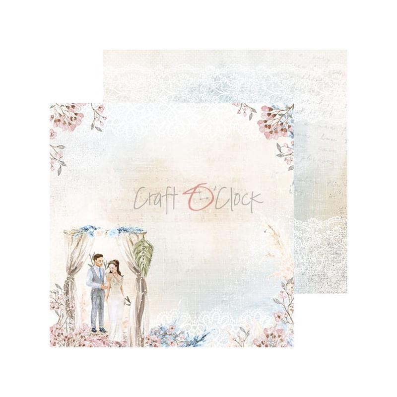 Set 18 papiers scrapbooking 20 x 20 collection Wedding Dream CRAFT O'CLOCK