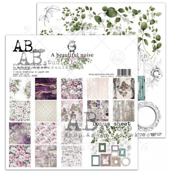 Set 8 papiers scrapbooking 30 x 30 collection A beautiful noise AB STUDIO