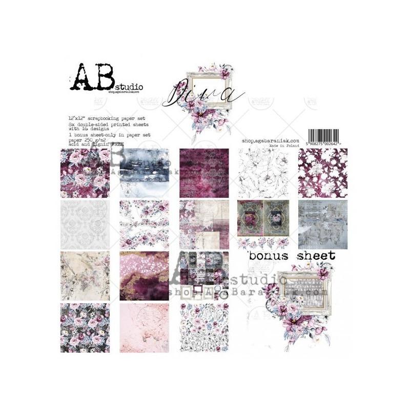 Set 8 papiers scrapbooking 30 x 30 collection Diva AB STUDIO