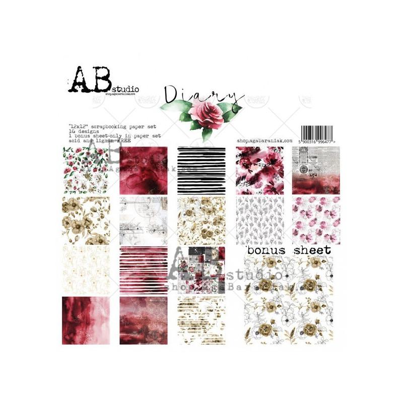 Set 8 papiers scrapbooking 30 x 30 collection Diary AB STUDIO
