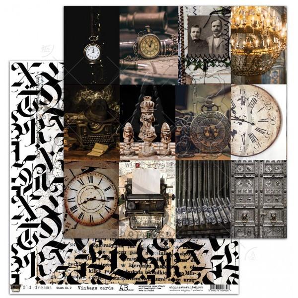 Set 8 papiers scrapbooking 30 x 30 collection Old dreams AB STUDIO
