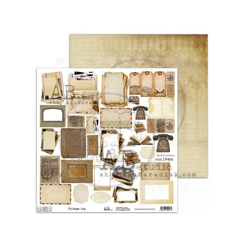 Feuille scrapbooking motifs à découper Vintage Day AB STUDIO
