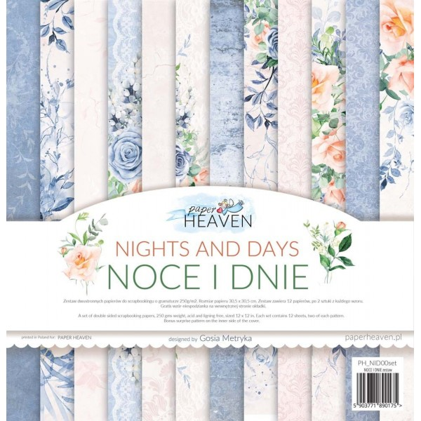 Set 12 papiers scrapbooking 30 x 30 collection Nights and Days PAPER HEAVEN