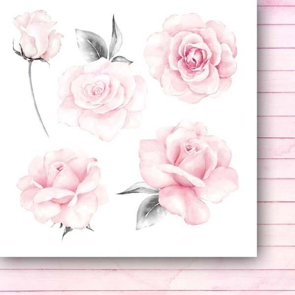 Set 24 papiers scrapbooking 15 x 15 collection The rose and the ring Flowers PAPER HEAVEN