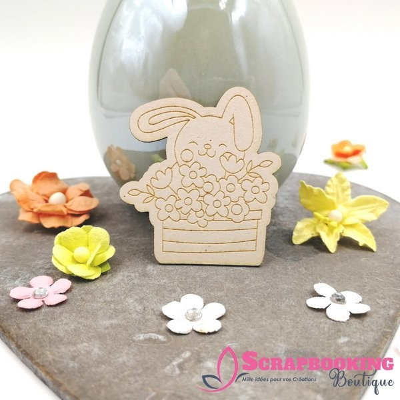 Lot de 3 chipboards lapins fleuris de Printemps SCRAPMOUSET