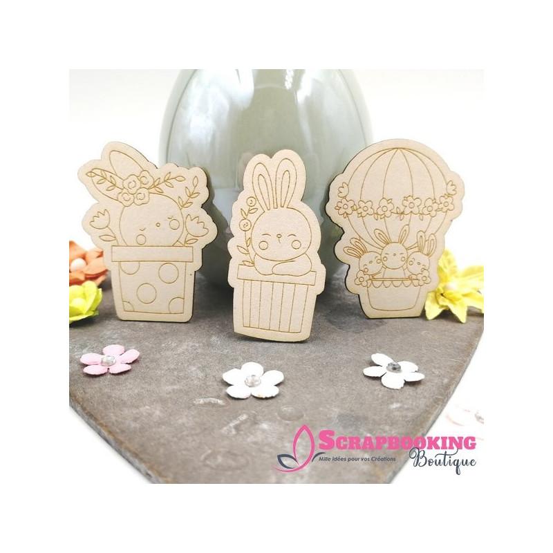 Lot de 3 chipboards lapins rigolos de Pâques SCRAPMOUSET