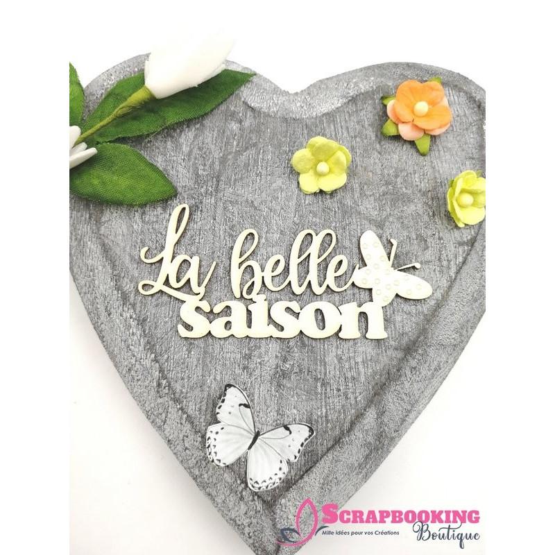 Mot La belle saison avec papillon en carton bois SCRAPMOUSET