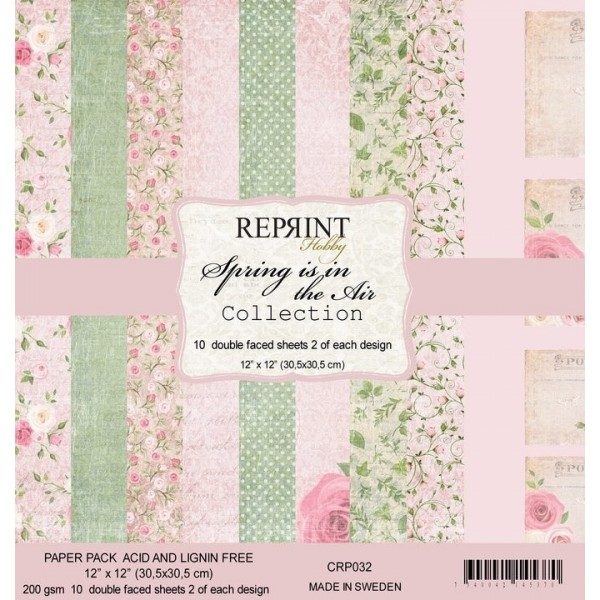 Set 10 papiers scrapbooking 30 x 30 collection Spring is in the air REPRINT