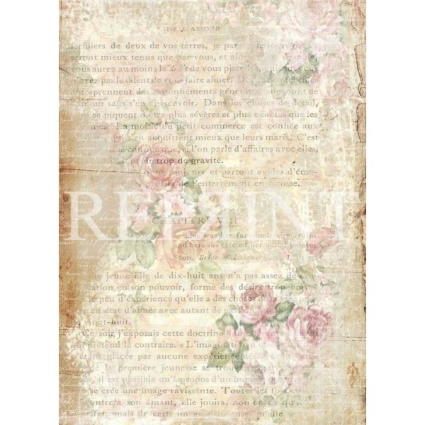 Set 10 papiers scrapbooking A4 collection French Flowers REPRINT