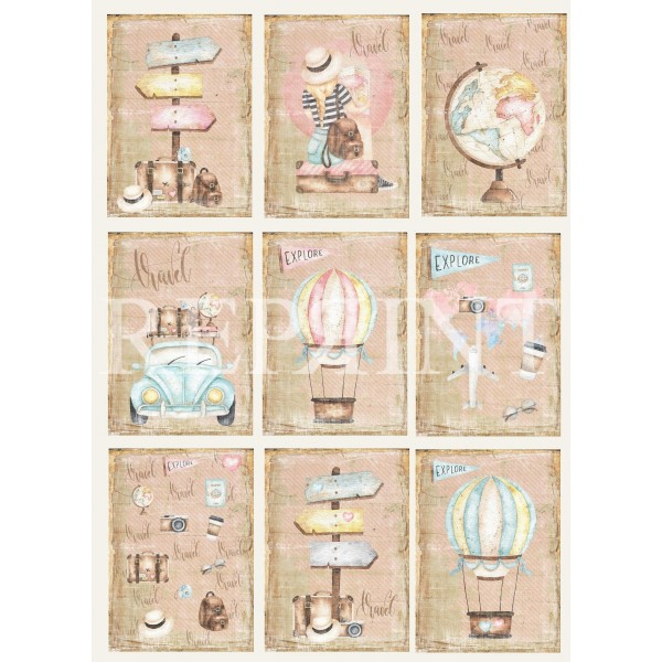 Set 10 papiers scrapbooking A4 collection Around the world REPRINT