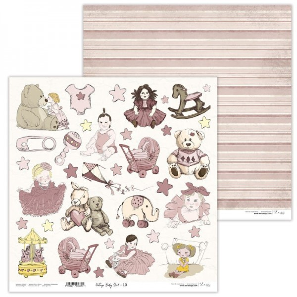 Set de 11 papiers scrapbooking 30 x 30 collection Vintage Baby Girl LEXI DESIGN