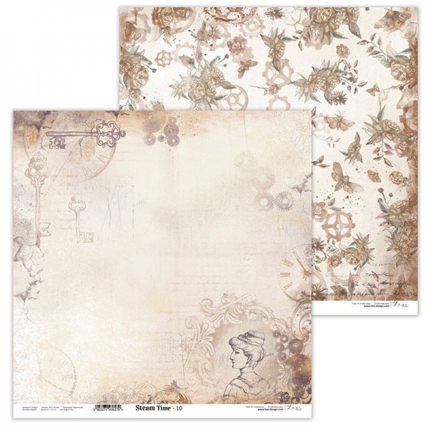 Set de 11 papiers scrapbooking 30 x 30 collection Steam Time LEXI DESIGN