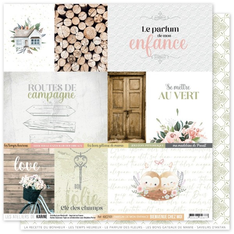 Assortiment 6 papiers scrapbooking 30 x 30 collection Bienvenue chez moi LES ATELIERS DE KARINE