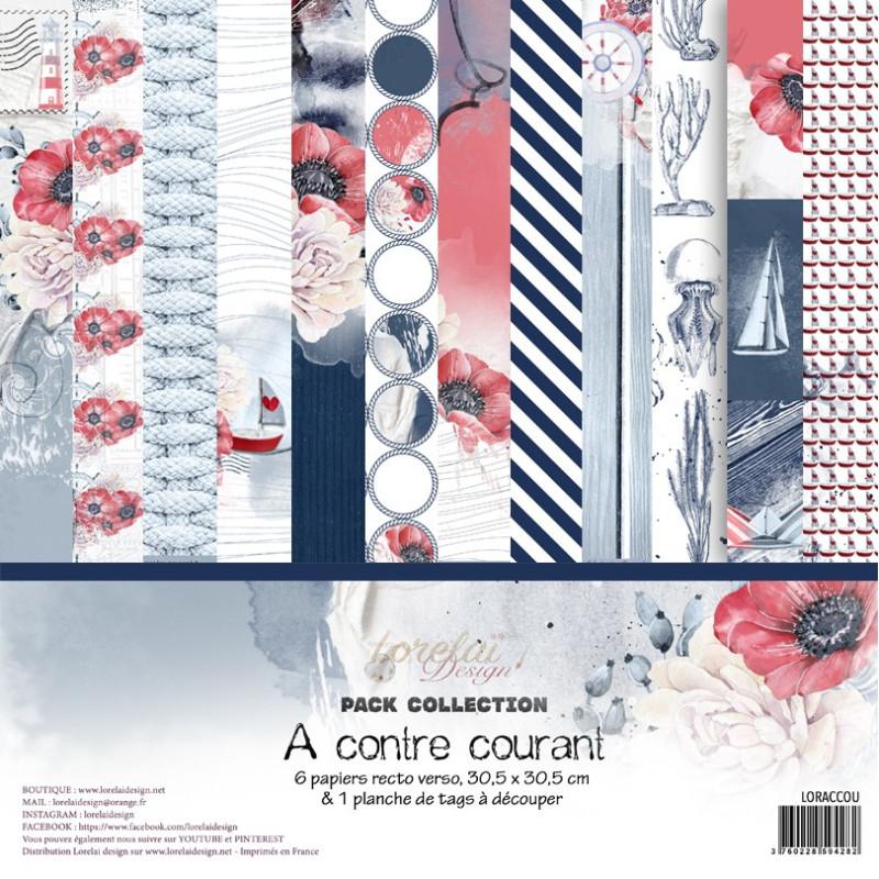 Set 6 papiers scrapbooking 30 x 30 collection A contre courant LORELAÏ DESIGN