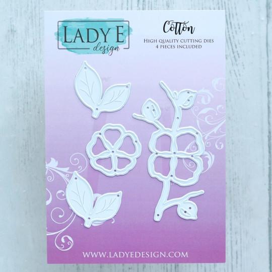 Set de 4 matrices de découpe Fleur de coton LADY E DESIGN