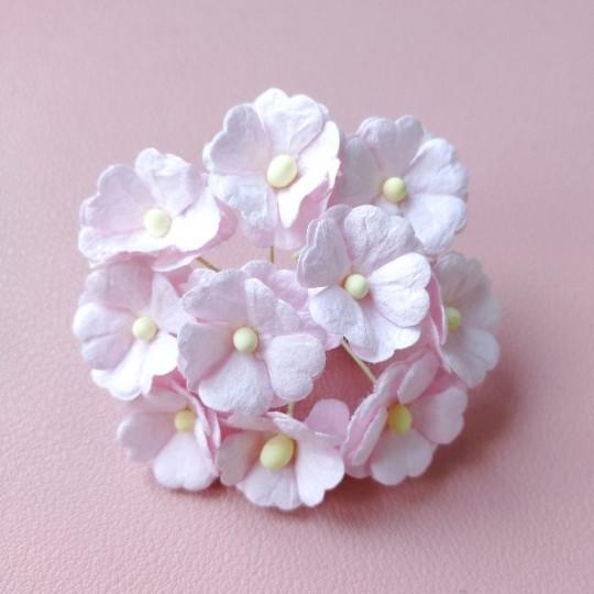10 fleurs daisies coeur 15 mm rose pastel en papier mûrier