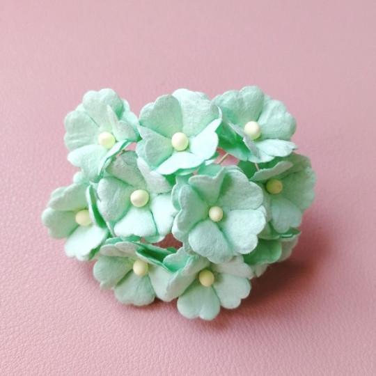 10 fleurs daisies coeur 15 mm menthe en papier mûrier
