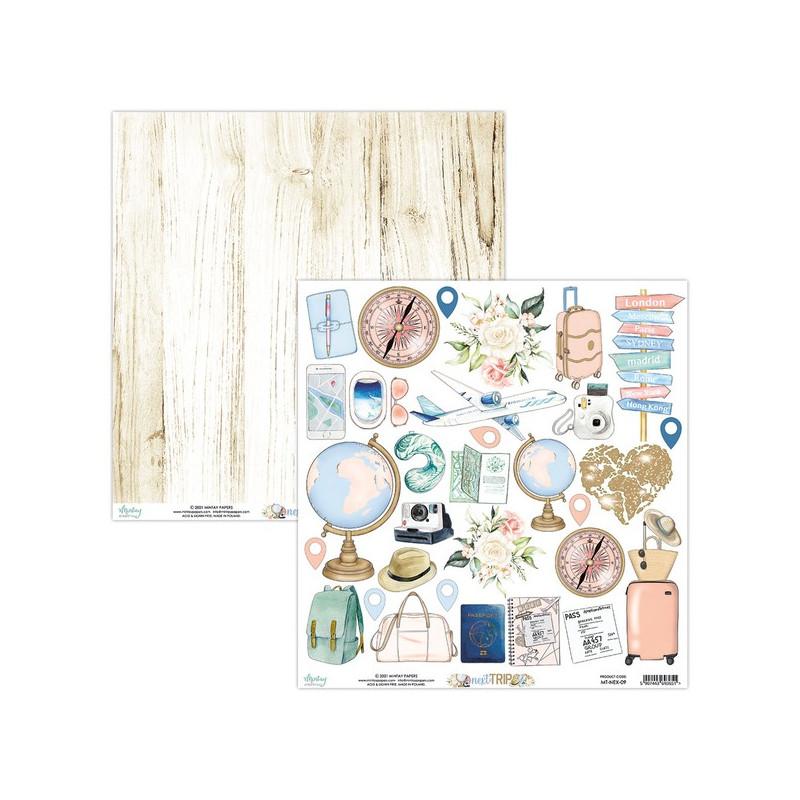 Set 12 papiers scrapbooking 30 x 30 collection Next Trip MINTAY BY KAROLA
