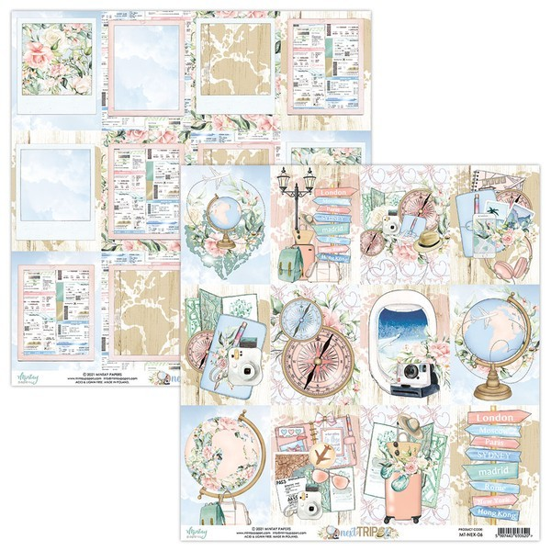 Set 24 papiers scrapbooking 15 x 15 collection Next Trip MINTAY BY KAROLA