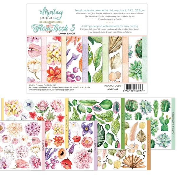 Bloc 24 pages Flora Book 5 Summer Edition MINTAY BY KAROLA