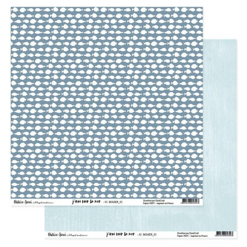 Set 6 papiers scrapbooking 30 x 30 collection J'irai voir la mer BEATRICE GARNI ILLUSTRATION