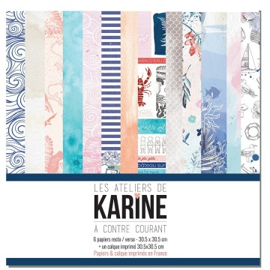 Set 6 papiers scrapbooking 30 x 30 collection A contre courant LES ATELIERS DE KARINE