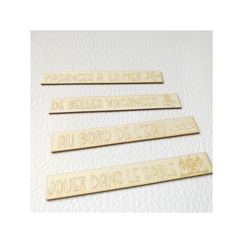 Lot de 8 étiquettes gravées thème Mer carton bois SCRAPMOUSET