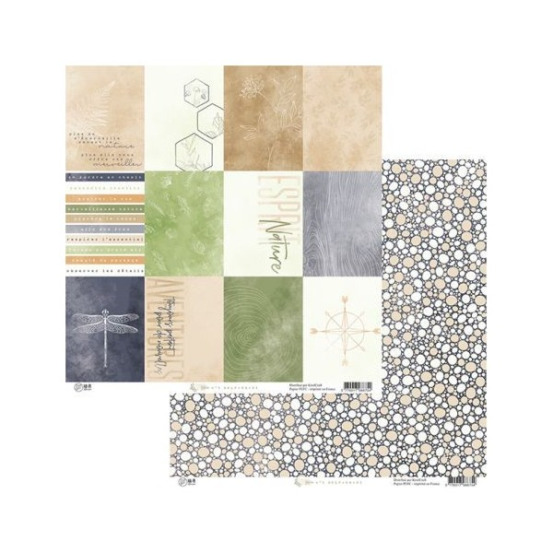 Set 6 papiers scrapbooking 30 x 30 collection Esprit Nature HA.PI LITTLE FOX