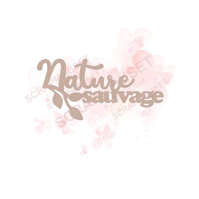 Mot Nature sauvage avec feuillage en carton bois SCRAPMOUSET