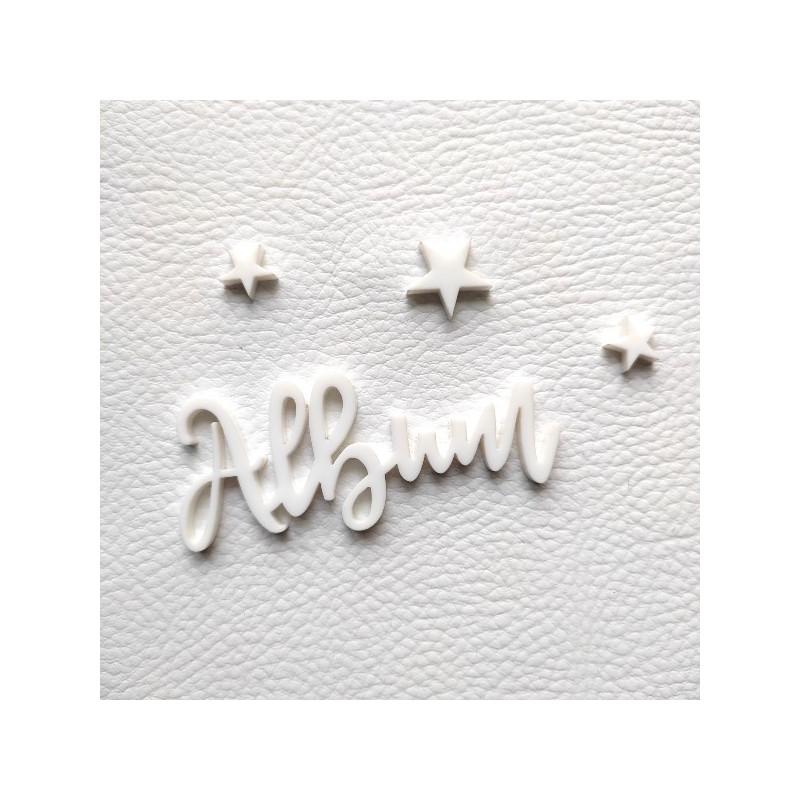 Mot Album et ses étoiles en acrylique blanc SCRAPMOUSET