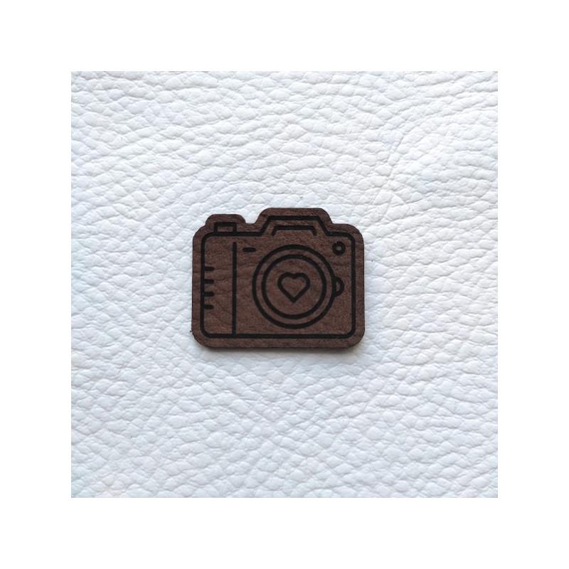 Embellissement appareil photo brun foncé en cuir SCRAPMOUSET